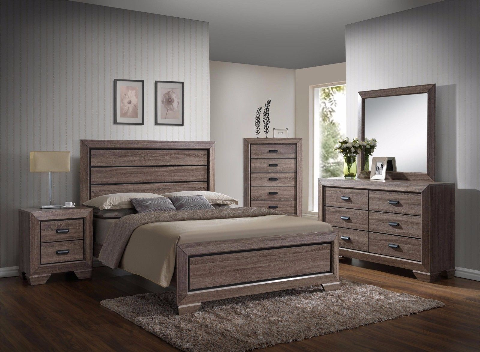 Crown Mark RB5500 Farrow Queen Size Bedroom Set Transitional 2 Night Stands