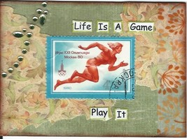 ACEO ATC Art Cart Collage Original Olympics Tra... - $3.50