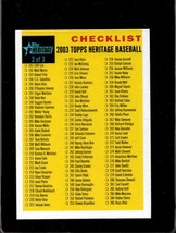 2003 TOPPS HERITAGE CHECKLIST 2/3 NMMT *C8030 - $2.50