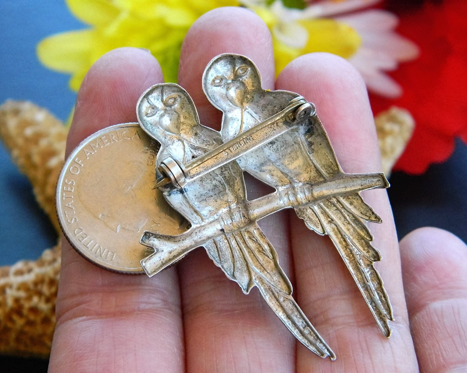 Vintage Parrot Brooch Pin 2 Love Birds Branch Sterling Silver Figural