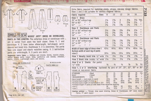 Vintage SIMPLICITY 7135 - Dress or Overblouse & Pants - Size 14 - Cut & Complete