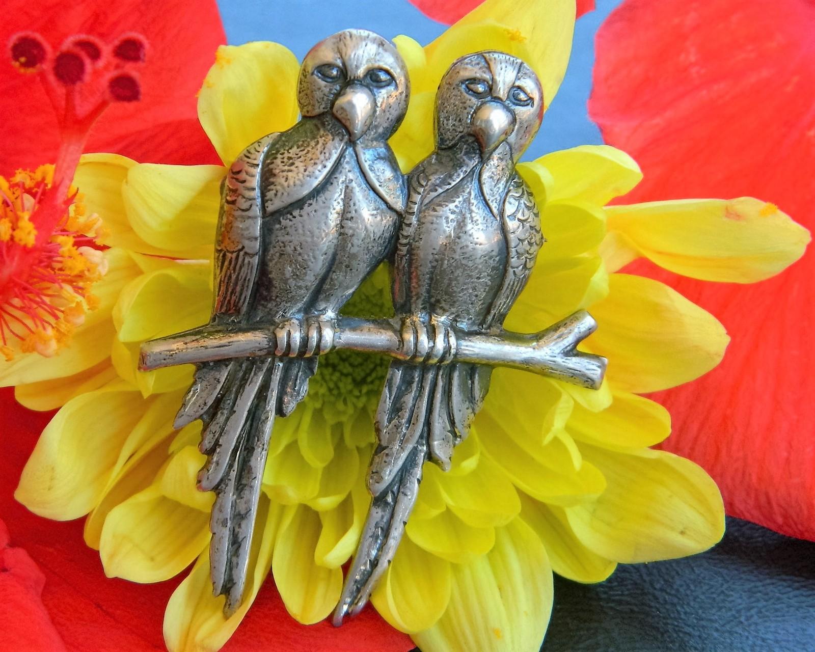 Vintage parrots brooch pin 2 lovebirds branch sterling silver figural