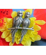 Vintage Parrot Brooch Pin 2 Love Birds Branch Sterling Silver Figural - $64.95