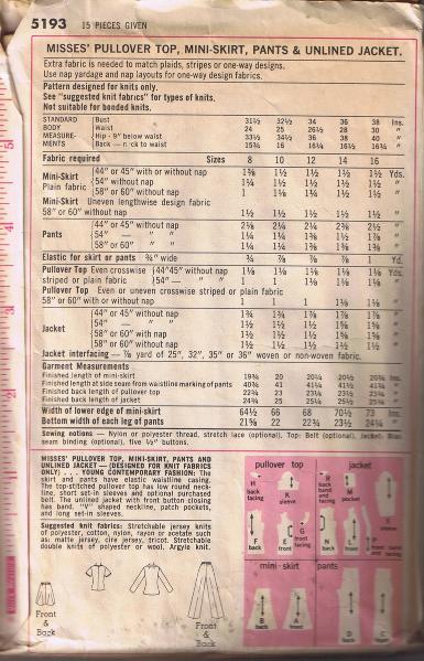 Vintage SIMPLICITY 5193 - Top, Mini-Skirt, Pants, Jacket -Size 12 - UNCUT