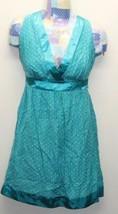 Guess Women Dress Turquoise Polka Dots V-Neck Sleeveless Sexy Mini Small - $26.81