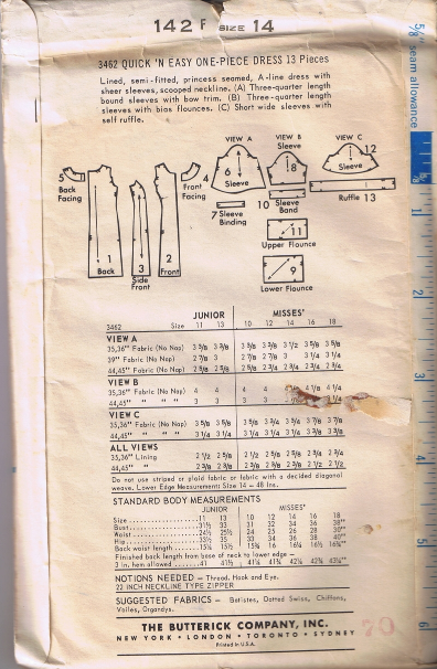 Vintage BUTTERICK 3462 - One-Piece Dress - Size 14 - UNCUT