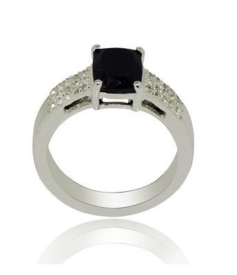 Black Spinel White Topaz Solid 92.5 Sterling Silver Jewelry Ring Sz 7 SHRI0314