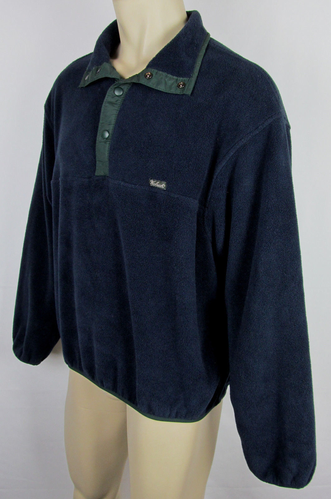 Woolrich Snap-T fleece jacket USA Made Navy Blue Mens Size L image 2