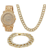 "14k Gold PT ICED OUT Cuban Chain 16""-30"" CZ Round w/ Fully CZ Watch & Br... - $59.39+"