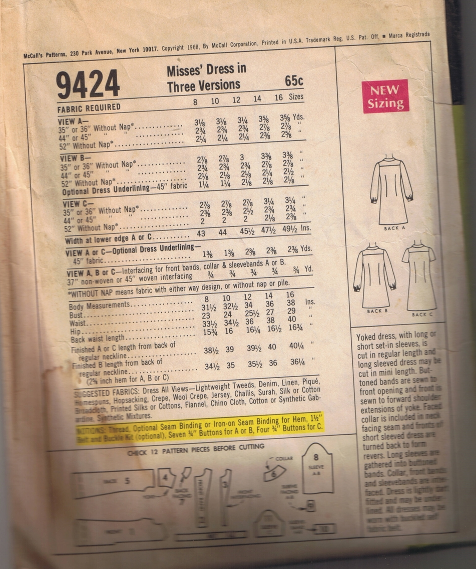 Vintage McCall's 9424 - Misses' Dress 3 Versions - Size 16 - UNCUT