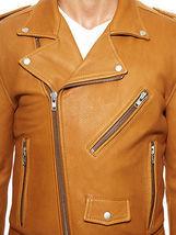 Men's Tan Classic Biker Leather Jacket, MEN NEW JACKET BIKER JACKET - $169.00