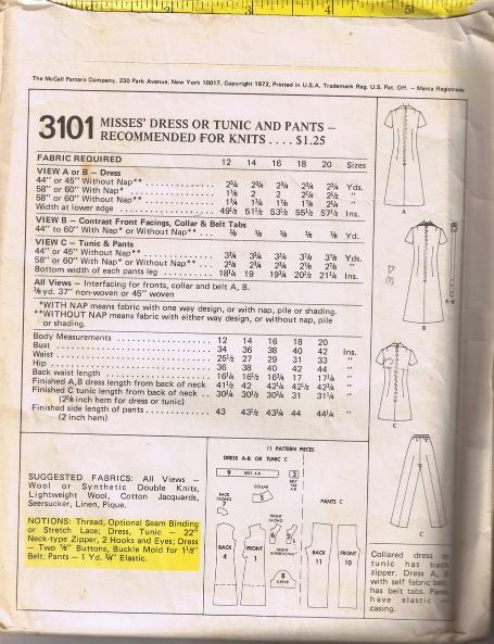 Vintage McCall's 3101 - Misses' Dress, Tunic, Pants Size 12 - UNCUT