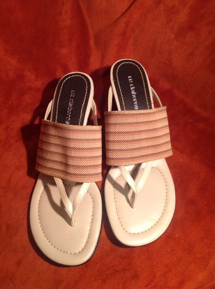 LIZ CLAIBORNE NAPELS WOMEN'S TAUPE W/ STRIPED BROWN ELASTIC THONG SANDALS 9.5M