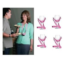WineYoke Party Time Hand Free Wine Glass Holder Necklace - Set of 4 (Pink) - $16.65