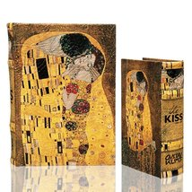 Gustav Klimt Golden THE KISS (Lovers) Leather Book Box Set of 2 Storage ... - $45.99
