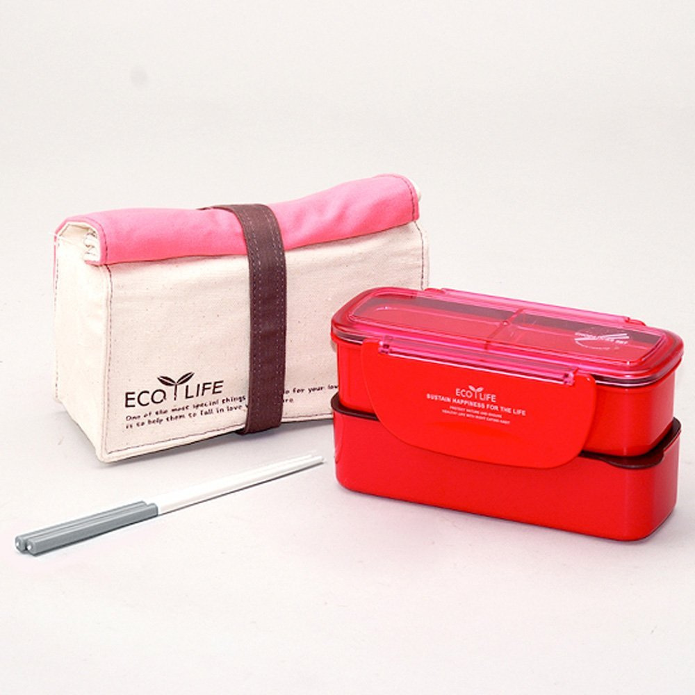Primary image for Lock & Lock BPA Free Slim Lunch Box with Chopsticks and Cotton Bag (Pink)