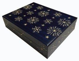Snowflakes Wooden Box Polish Handmade Jewelry Box Christmas Keepsake - €22,00 EUR