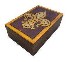 Fleur De Lis Box Polish Jewelry Box Handmade Linden Wood Keepsake - €23,80 EUR