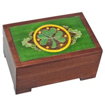 Celtic Shamrock Keepsake Jewelry Polish Wooden Box - $34.29