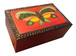 Polish Handmade Wood Butterfly Box Kids Girls Jewelry Box Keepsake - €17,22 EUR