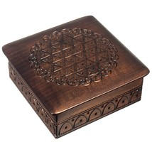 Shakti Elegant Dark Finish Linden Wood Keepsake Handmade Polish Jewelry Box - €28,43 EUR