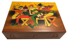 Musicians Concerto Party Wooden Box Polish Handmade Linden Wood Keepsake Musi... - $29.39