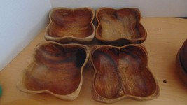 Vintage Four  Wooden Bowls Scalloped Edges-Crafts-Up-Cycle-Salad-Fruit - $8.00
