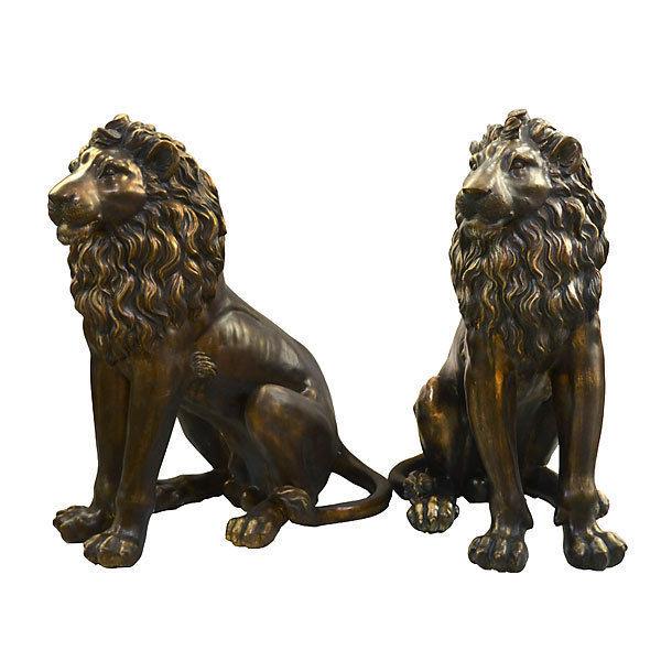 Set 2 Bronzed Lion Figurine Statue Resin Home Decor Safari