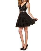 Fanmu Beading Spaghetti Straps Satin Short Homecoming Dresses Prom Gowns Blac... - $95.99