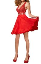 Fanmu Beading Spaghetti Straps Satin Short Homecoming Dresses Prom Gowns Red ... - $89.99