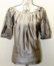 BCBG Max Azria Shiny Brown Bubble Puff Sleeve Small Women Blouse Short Sleeve - $28.04