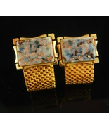 Venetian granite Cufflinks mesh wrap Gold copper Flake marble grey suit ... - $125.00