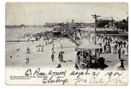 NJ Asbury Park Beach Boardwalk from the Arcade J Murray Jordan 1904 UDB ... - $8.99
