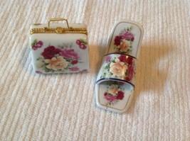 High Heel Shoe Purse Figurine Trinket Box Set Imperial Porcelain Red Pin... - $18.70