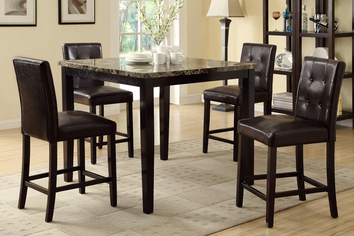 5pc dining set counter height table high chair espresso