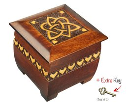 Polish Handmade Trinity and Heart Chest Box Lock and Key Wooden Jewelry ... - $45.07