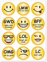 Epic Products E-Chat and Smileys Glass Stick'ems (Set of 24), Multicolor - $7.83