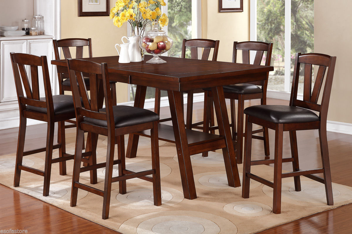 walnut 7 pc dining set counter height dining table