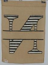 Kate Winston Brand Brown Burlap Monogram Black White N Garden Flag image 2