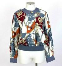 Vtg 90s Silky Bomber Jacket Baroque Print Top Multi Color Andrea Gayle W... - $24.74