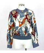 Vtg 90s Silky Bomber Jacket Baroque Print Top Multi Color Andrea Gayle W... - $24.74
