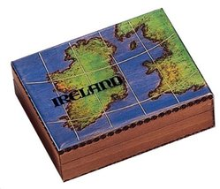 Ireland Map Wooden Box Polish Handmade Jewelry Box Linden Wood Irish Kee... - €25,84 EUR