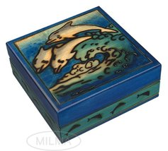 Joyful Dolphins Handmade Wooden Box Polish Jewelry Box Linden Wood Blue ... - €31,01 EUR