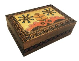 Polish Folk Design Handmade Bright Inlay Box Linden Wood Jewelry Box Kee... - €19,81 EUR