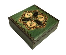 Green Kaleidoscope Box Polish Handmade Keepsake Linden Wood Jewelry Box - €28,43 EUR