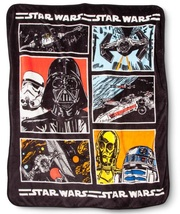 Star Wars Darth Vader R2-D2 C-3PO TIE-Fighter X-Wing Plush Throw Blanket... - £26.84 GBP