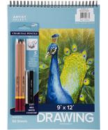 "Artist Select Drawing Pad 9""X12"" & 5pc Charcoal Pencil Set-50 Sheets - $19.68"