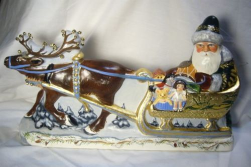 Vaillancourt Folk Art Large Santa in Golden Sleigh personally signed by Judi!