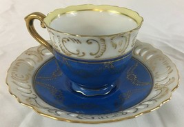 Decorative Tea Cup and Saucer Blue Pattern Made in Occupied Japan - $14.99