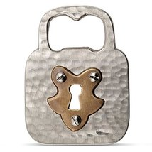 2.75 Inch Stout Silver Metal Lock Shaped Bronze Centered Bottle Opener - $14.69